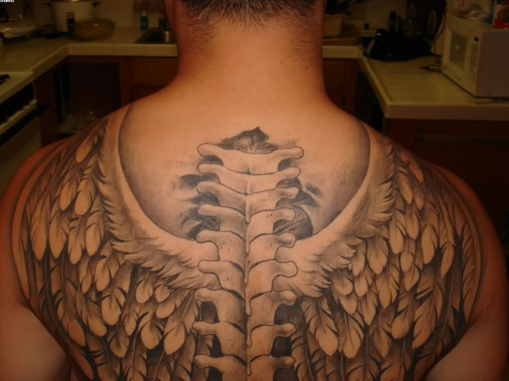 Spinal Cord Wings Tattoos