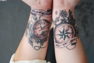 Stop Watch & Compass Tattoos On Wrist