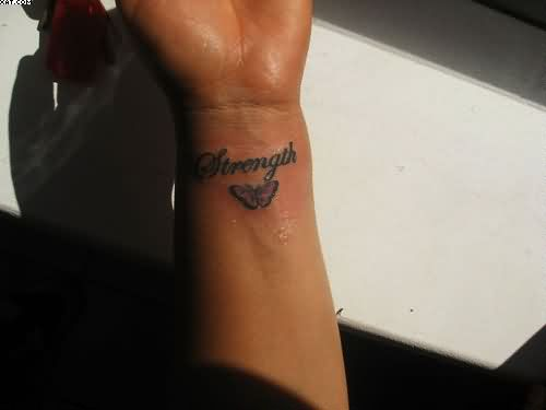 Strength Tattoo On Wrist