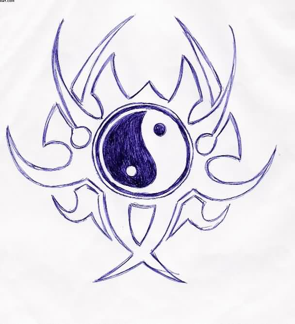 Sun Moon Yin Yang Tattoo Sketch