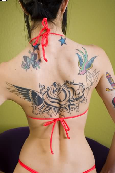 Swallow Wings And Roses Tattoos On Back Body