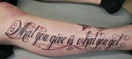 Terrific Lettering Tattoo On Leg
