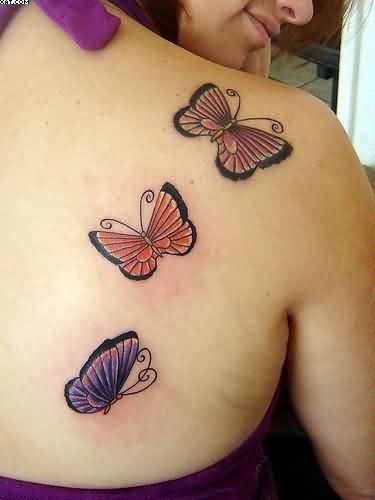Three Butterflies Shoulder Tattoos For Beautiful Women