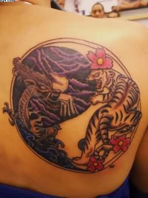 Tiger And Dragon Ying Yang Tattoo On Back Shoulder