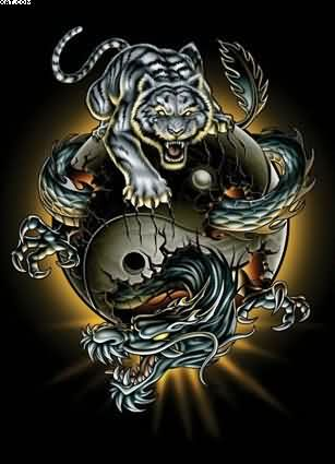 Tiger Dragon Ying Yang Tattoo Graphic