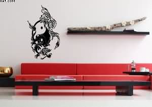 Tiger Dragon Ying Yang Tattoo Wall