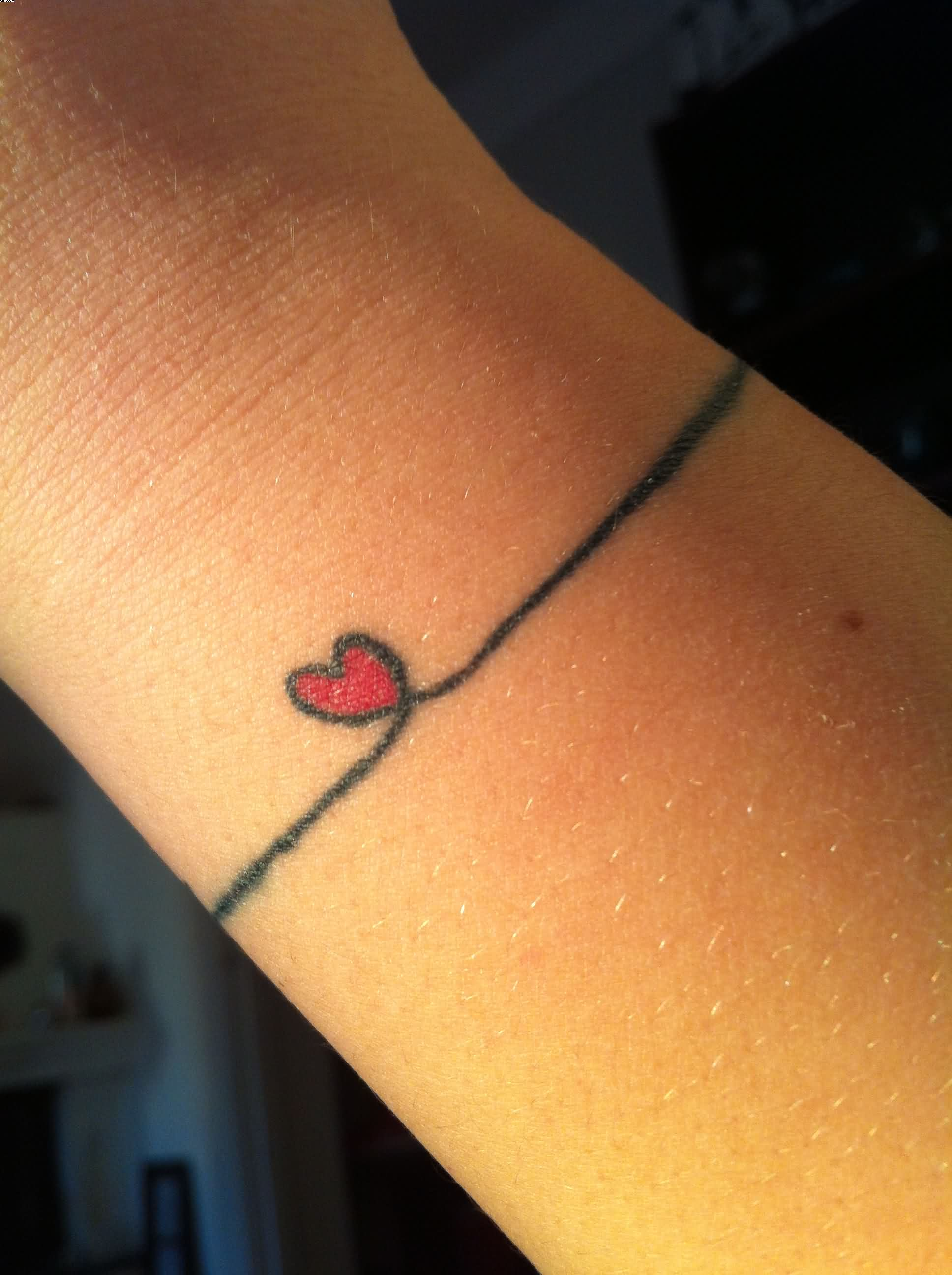 Tiny Love Heart Wrist Band Tattoo