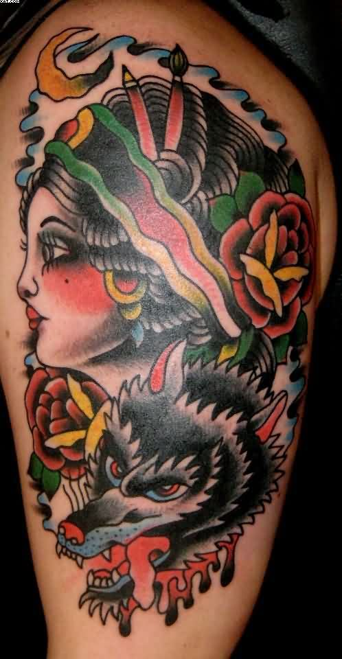 Traditional Girl And Wolf Tattoos On Biceps