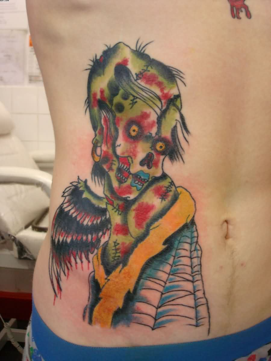Traditional Zombie Tattoo On Rib Side