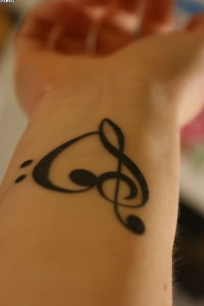 Treble Clef Heart Tattoo On Wrist