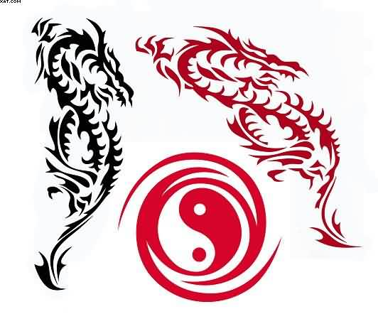 Tribal Dragons And Yin Yang Tattoo Design