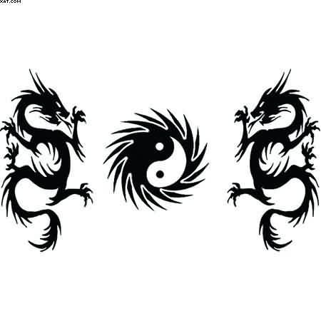 Tribal Dragons And Yin Yang Tattoo Designs