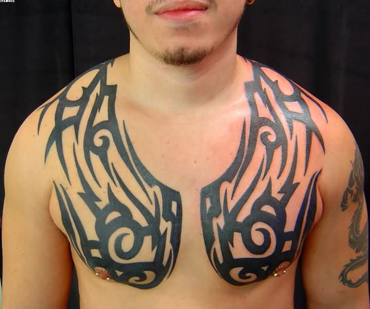 Tribal Wings Tattoo On Chest To Shoulders