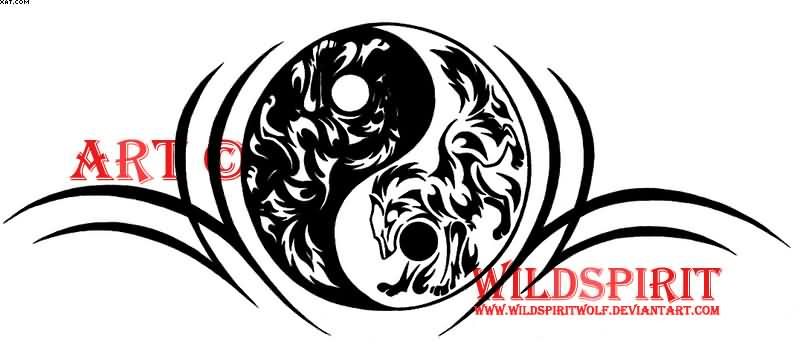 Tribal Wolf Yin Yang Tattoo Design