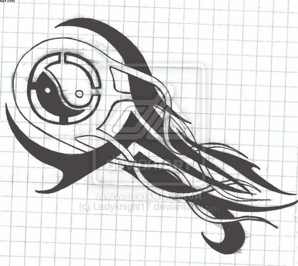 Tribal Yin Yang Tattoo Design