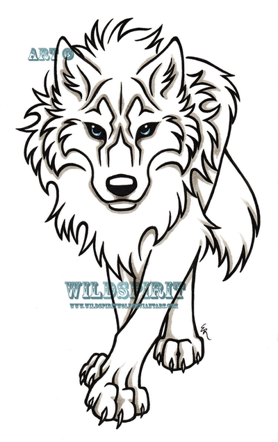 Uncolored Wolf Tattoo Sample