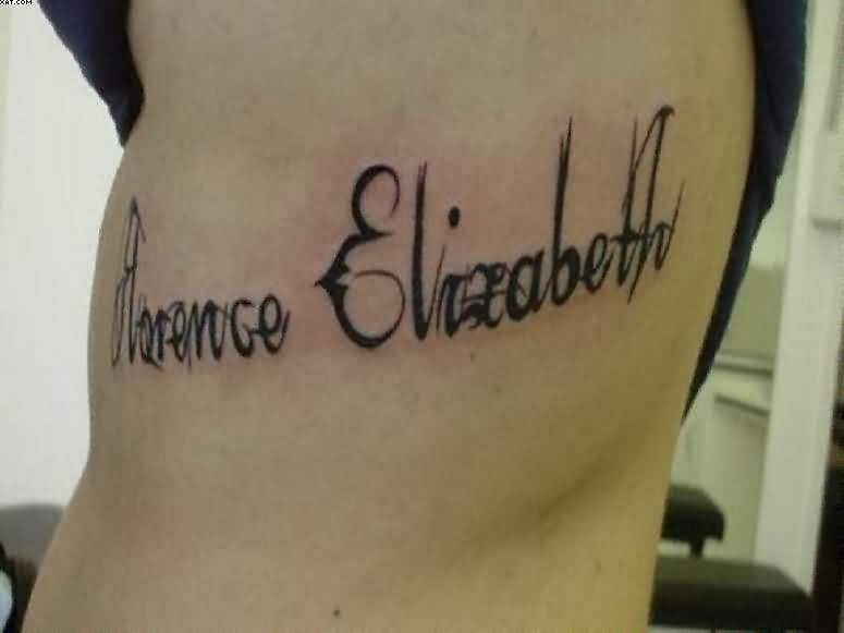 Unique Personalized Name And Inspirational Words Tattoos On Rib Side
