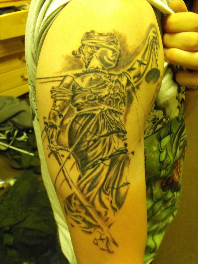 Upper Arm Blind Lady Justice Tattoo