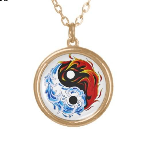 Water Fire Yin Yang Necklace