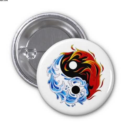 Water Fire Yin Yang Tattoo Button
