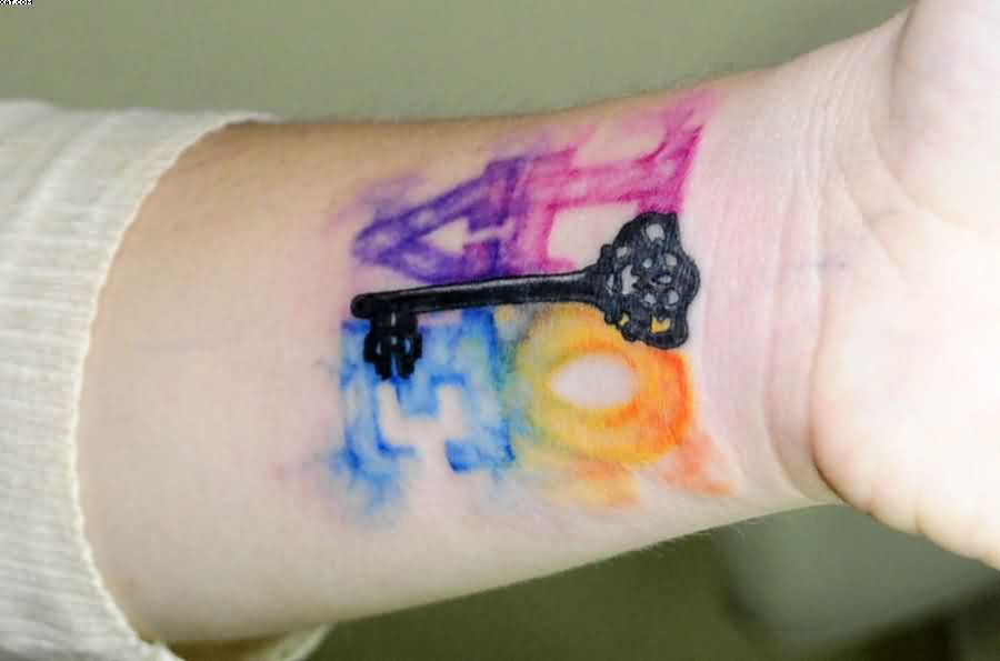 Watercolor Love Tattoo On Wrist