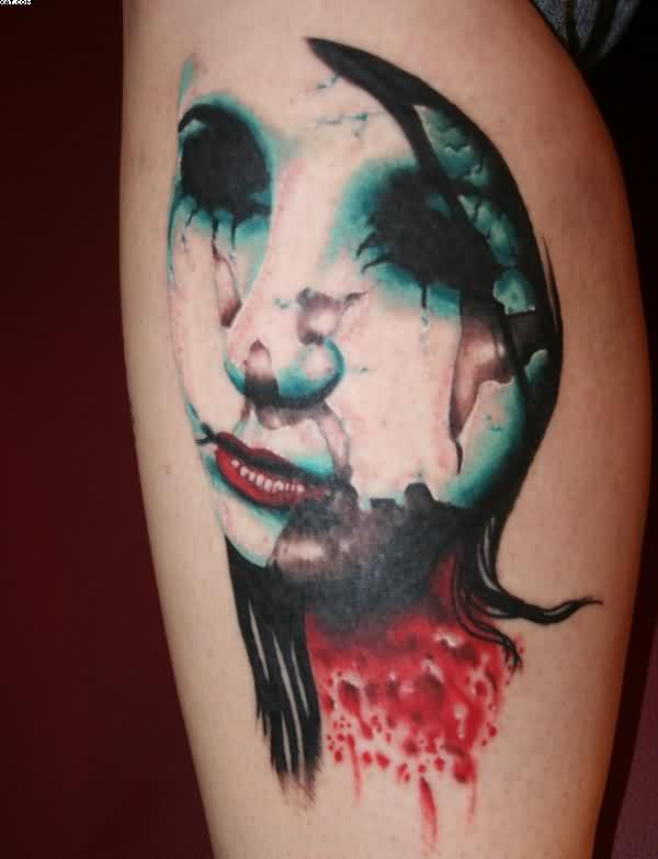 Wax Faced Zombie Tattoo
