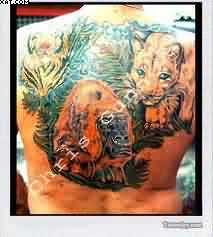 Wildlife Animals Backpiece Tattoos For Men