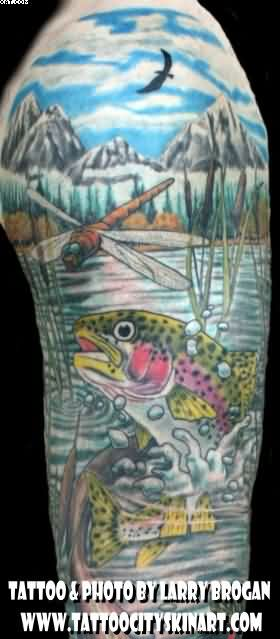 Wildlife Rainbow Trout Dragonfly Fish Sleeve Tattoos