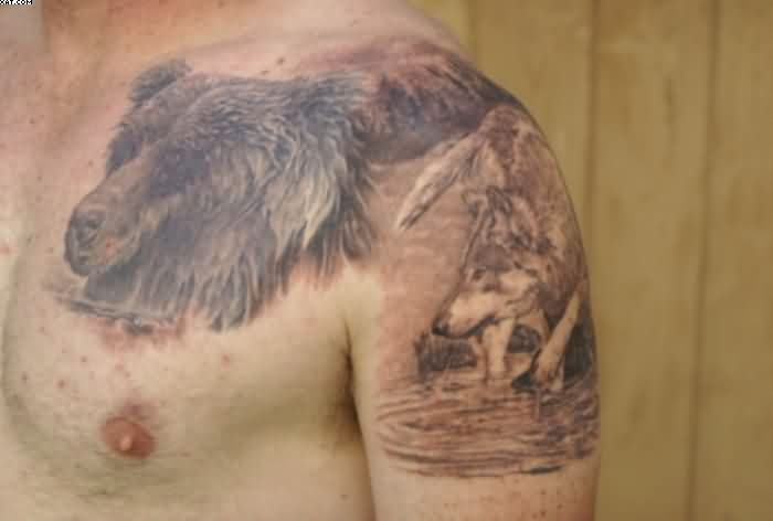 Wildlife Tattoos On Chest And Arm