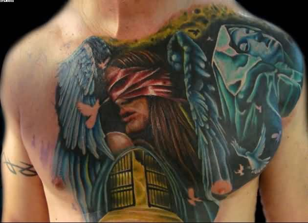 Wings Angel Tattoos On Chest For Guys