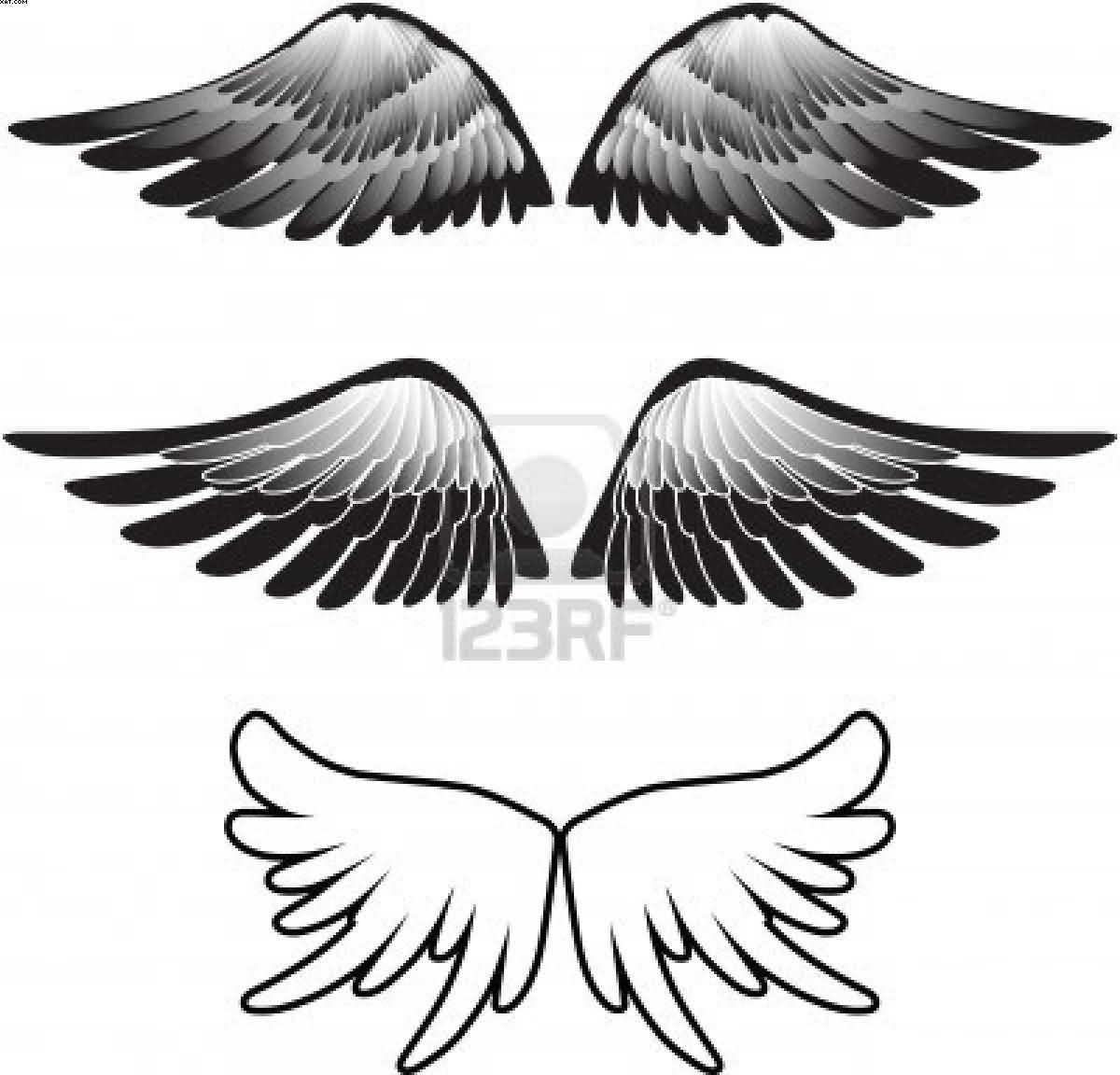 Wings Silhouette Tattoo Designs