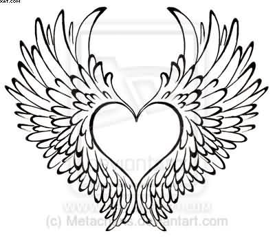 Without Color Heart With Wings Tattoo Design
