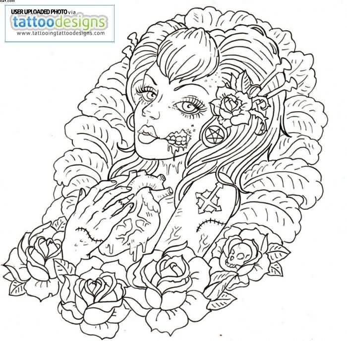 Without Color Zombie Girl Tattoo Sample
