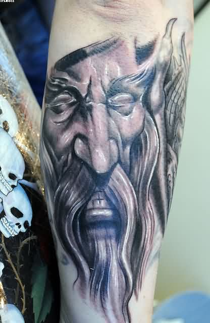 Wizard Face Close Up Tattoo