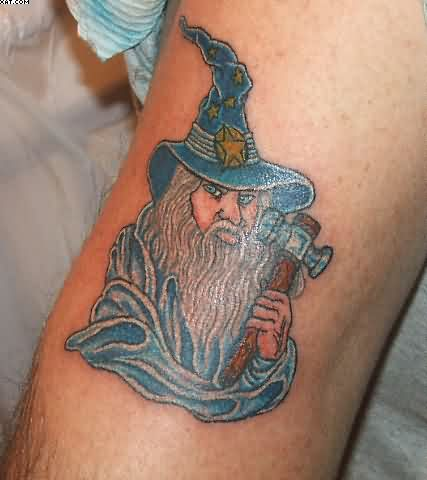 Wizard With Blue Eyes Tattoo
