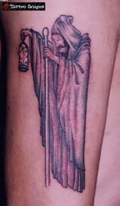 Wizard With Night Lamp Tattoo On Arm