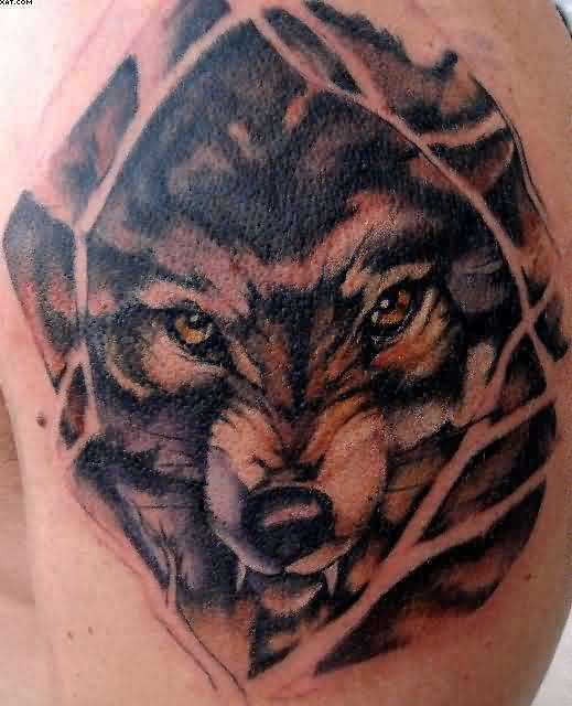 Wolf Among The Tree Branches Tattoo