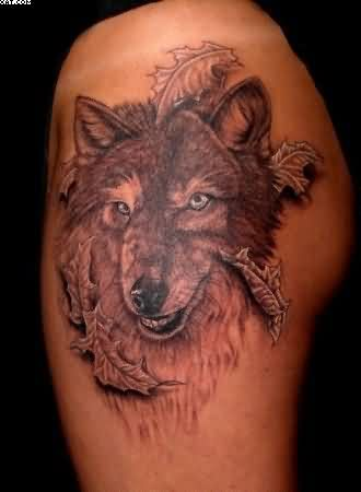 Wolf And Falling Leaves Tattoos On Arm
