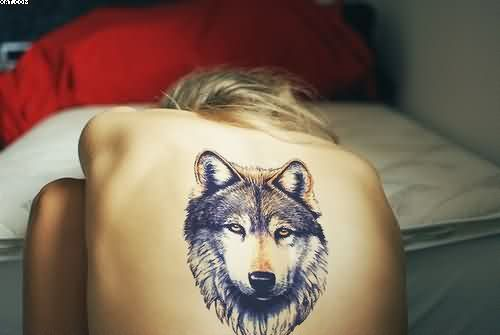 Wolf Head Tattoo On Back Of Girl