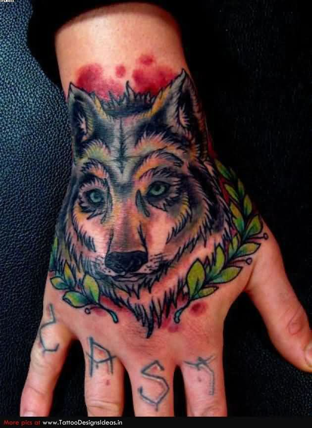 Wolf Head Tattoo On The Hand