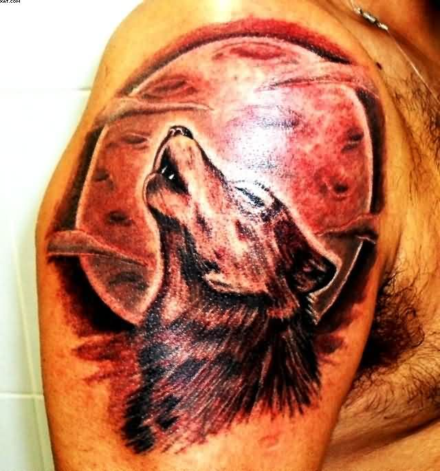 Wolf Howling At The Red Moon Tattoo On Shoulder