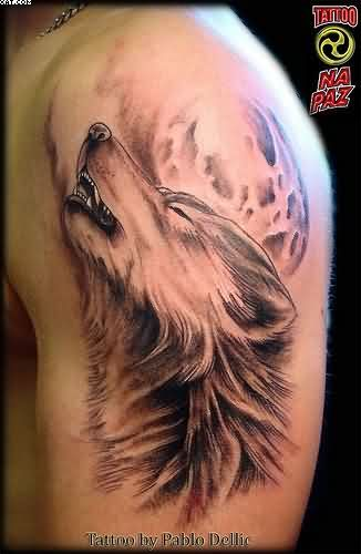 Wolf Howling Moon Tattoo On Biceps
