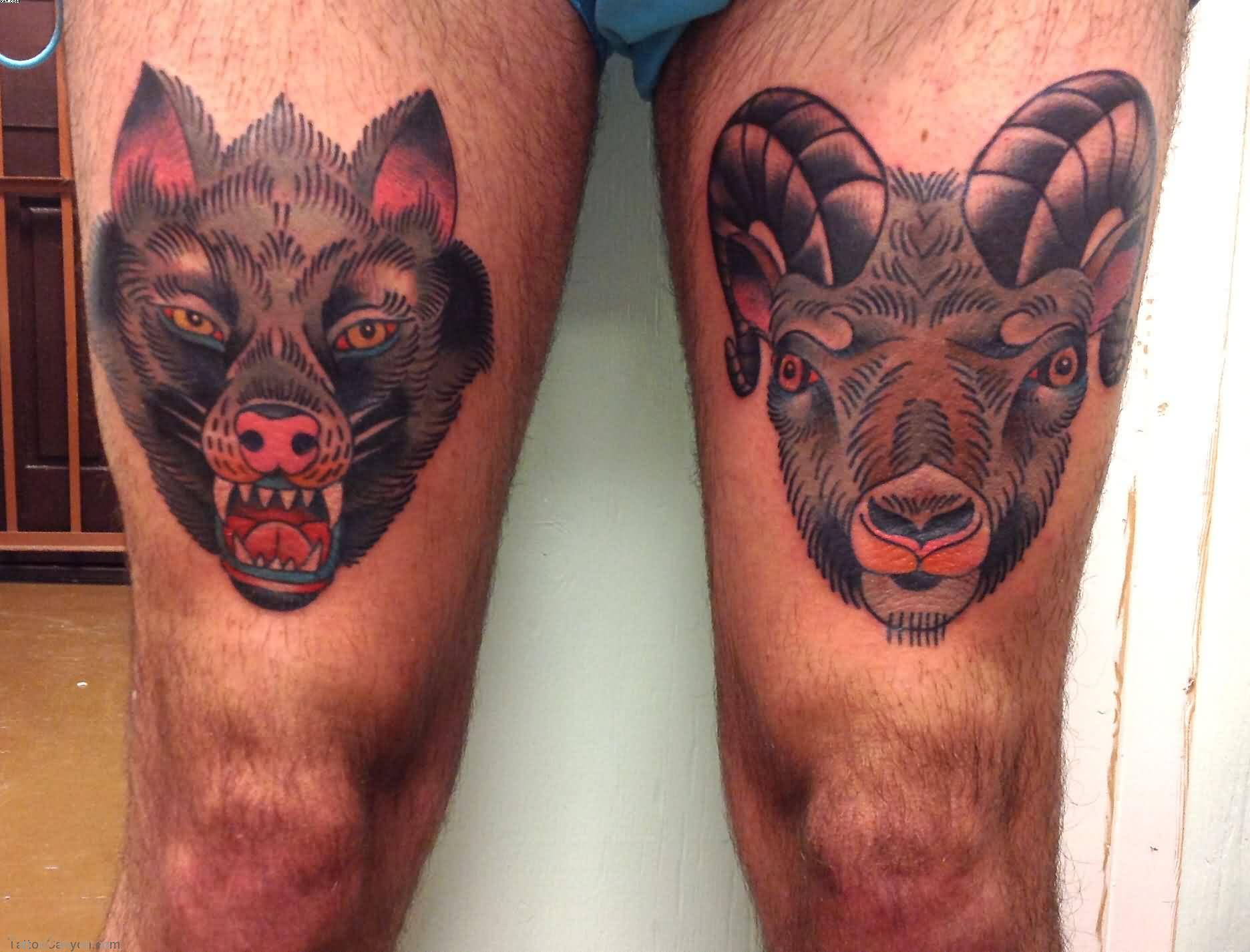 Wolf Sheep Head Tattoos On Thigh