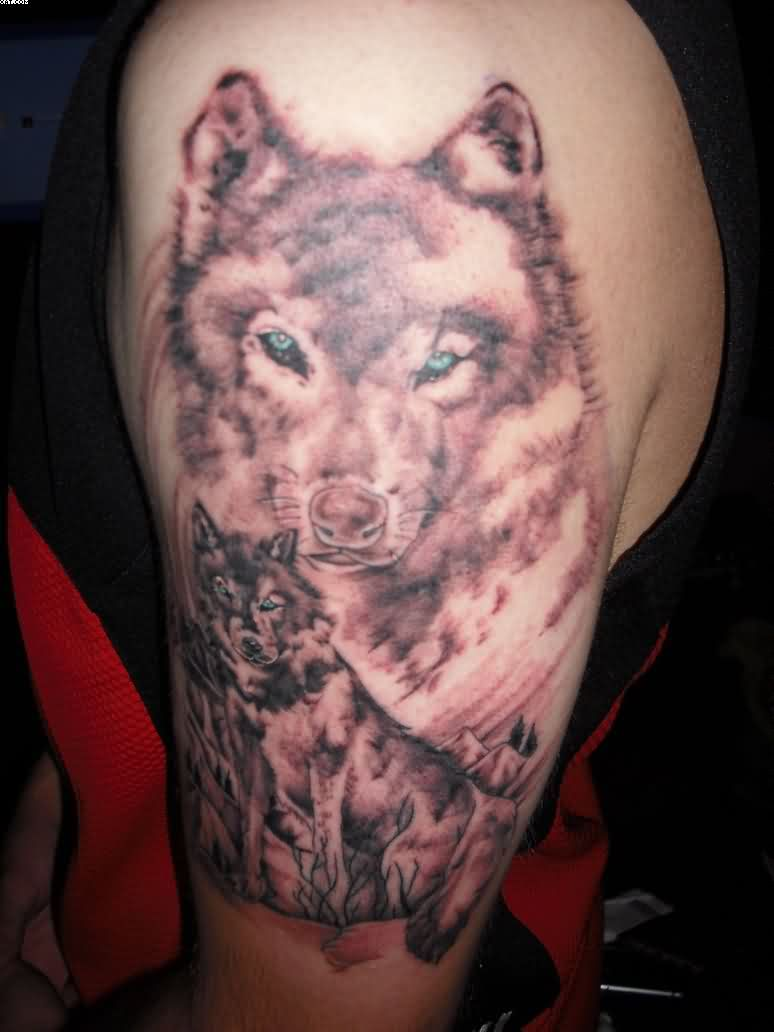 Wolf With Blue Eyes Tattoo On Arm