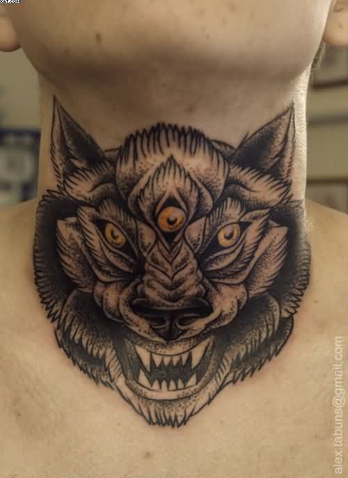 Wolf With Three Eyes Neck Dotwork Tattoo