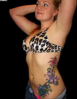 Women Flower Tattoos On Rib Side