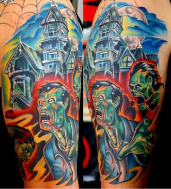 Wonderful Building And Zombie Tattoos