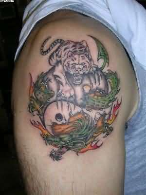 Wonderful Tiger Dragon Ying Yang Tattoo On Shoulder