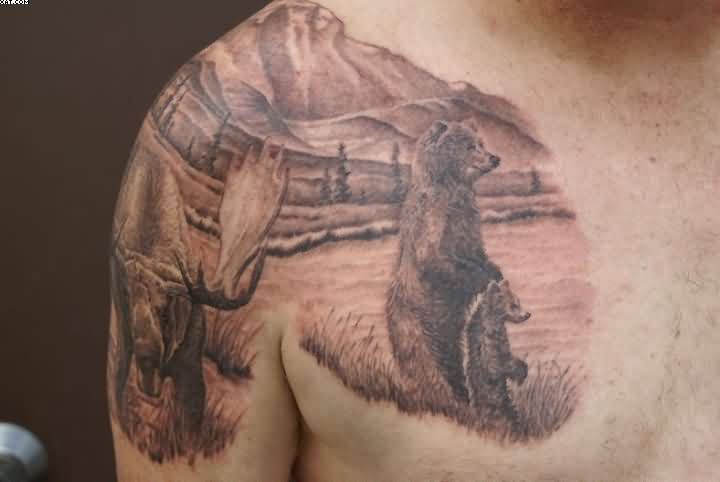 Wonderful Wildlife Bear Tattoos On Chest