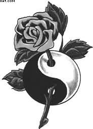 Wonderful Yin Yang Rose Tattoo Design
